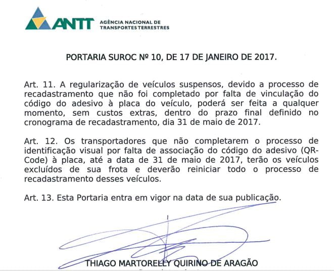 Portaria ANTT.SUROC N. 10 de 17.01.2017.art.11 e 12